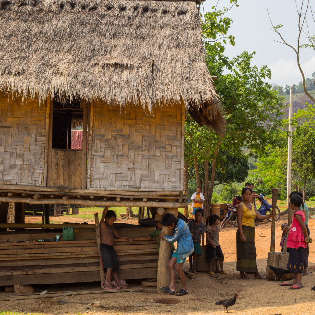"""Villagers in Laos"" stock image"