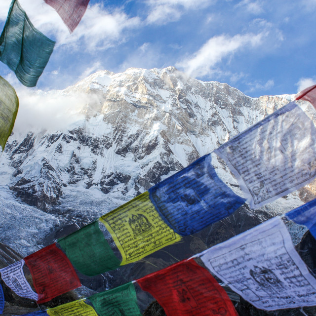 """Prayer Flags and the Mountains"" stock image"