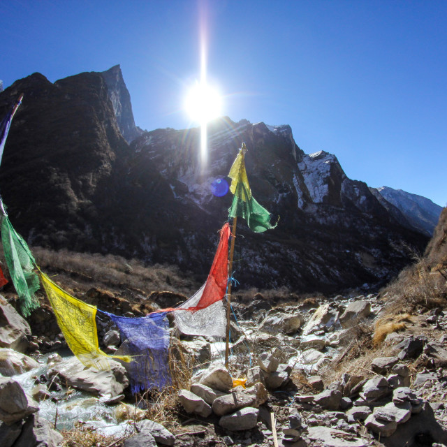 """Prayer Flags in the Himalayas"" stock image"