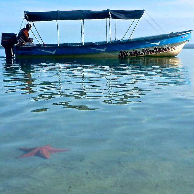 """Starfish Beach Taxi Boat"" stock image"