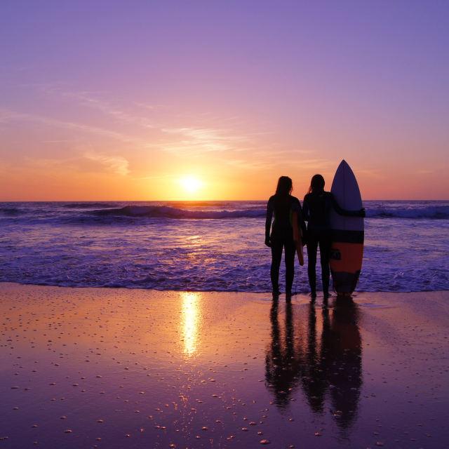 """'Surfgirls at Sunset'"" stock image"