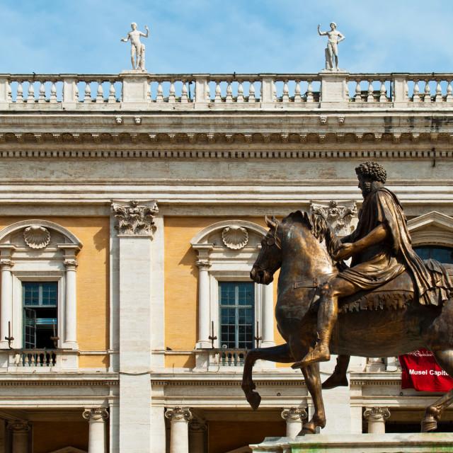"""""""Equestrian Statue of Marcus Aurelius"""" stock image"""