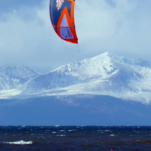 """Kite-surfing in the playpark of the Isle of Arran"" stock image"