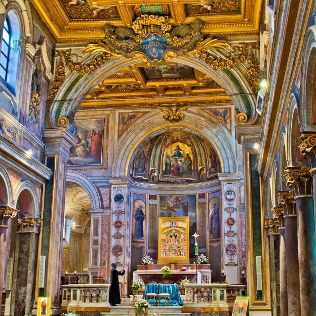 """""""St. Bartholomew on the Island Basilica interior"""" stock image"""