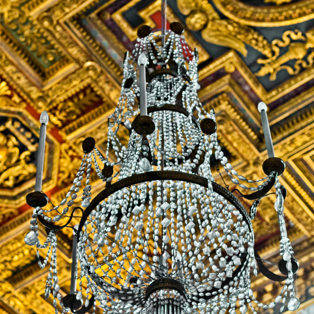 """Chandelier at the St. Mary of the Altar of Heaven Basilica"" stock image"
