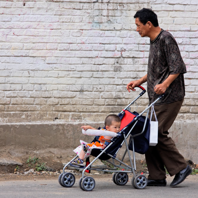 """""""Chinese man and baby"""" stock image"""