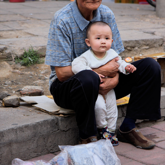 """Chinese man and child"" stock image"