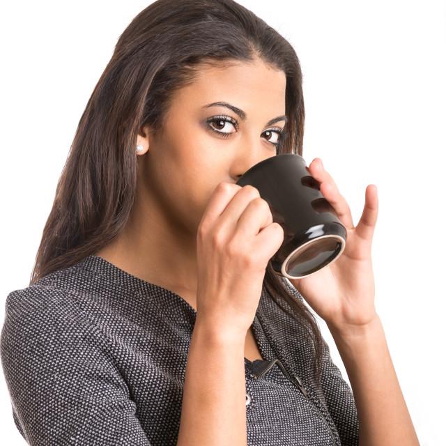 """beautiful woman drinking coffee from mug"" stock image"