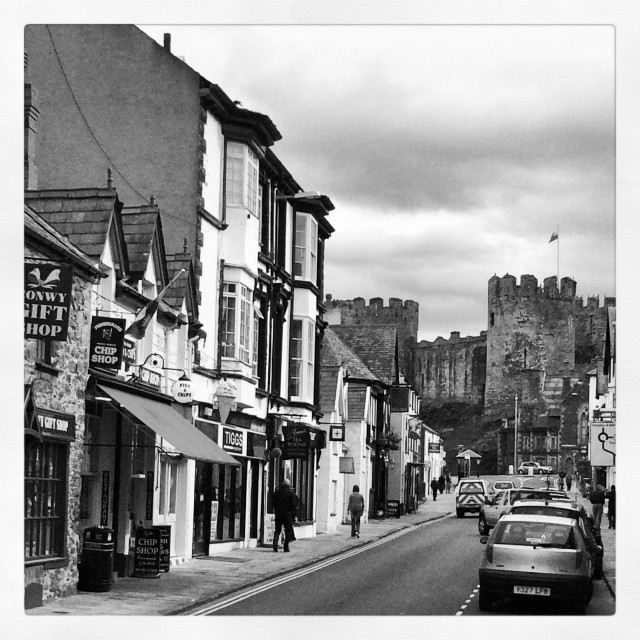 """Street in Conwy, Wales"" stock image"