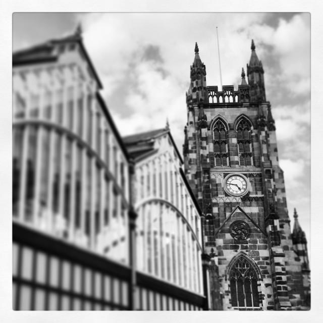 """Stockport parish church and market hall"" stock image"