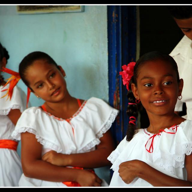 """Girls at Tortuguero"" stock image"