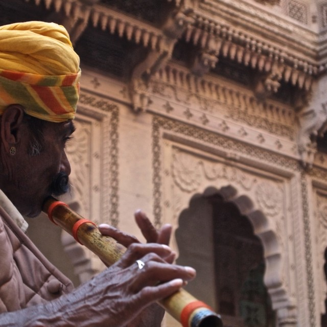 """""""Indian Flute Player"""" stock image"""