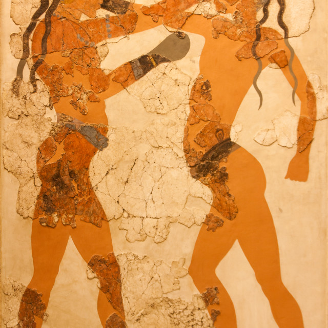 """Fresco of boxing boys in Greece"" stock image"