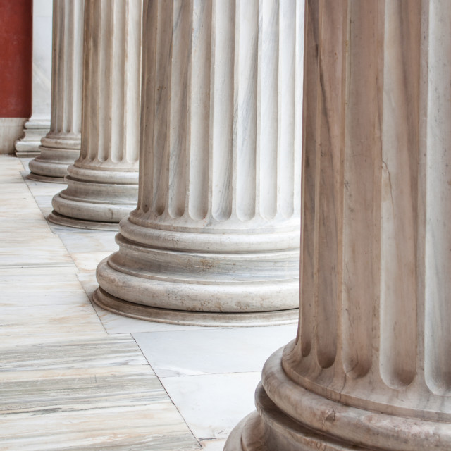 """Classical Greek columns in a row"" stock image"