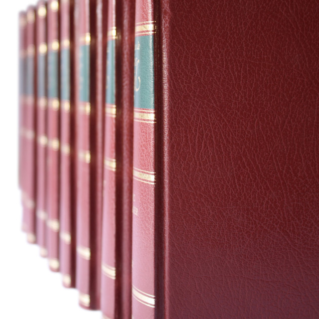 """""""Row of books with red hard leather cover"""" stock image"""