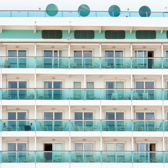 """Ocean liner cabins background"" stock image"