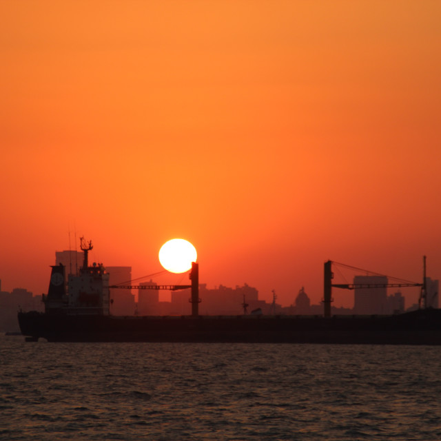 """""""Sunset over Mumbai, Indian Ocean"""" stock image"""