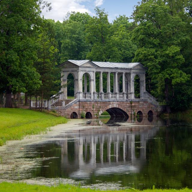 """Marble Bridge in the park Tsarskoye Selo, Russia"" stock image"