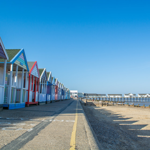 """Beach huts at Southwold"" stock image"