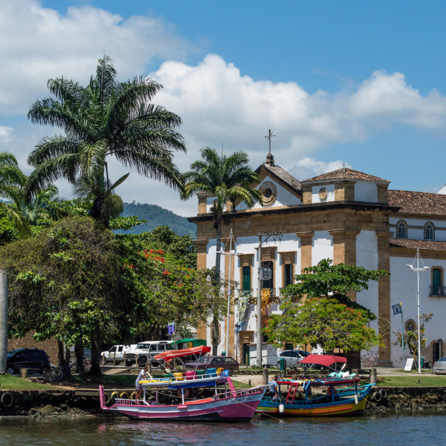 """View of church in Paraty, Brazil"" stock image"