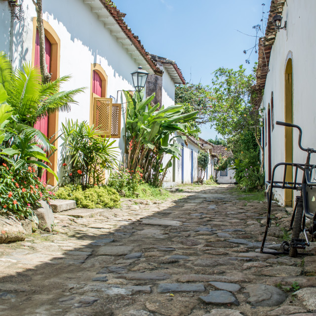 """Street view in Paraty, Brazil"" stock image"