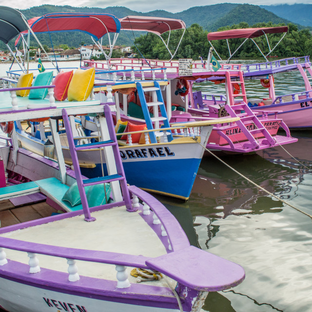 """Colourful boats in Paraty, Brazil"" stock image"