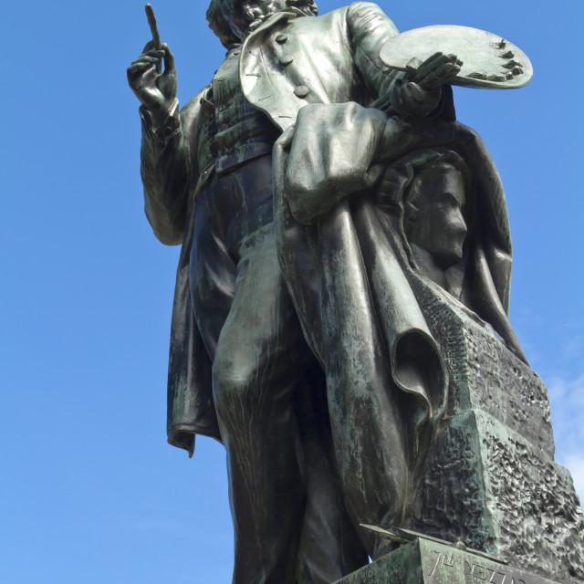 """Bronze statue of Ary Scheffer"" stock image"