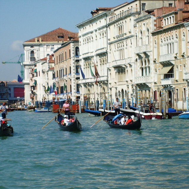 """Trio of Gondolas in Venice"" stock image"