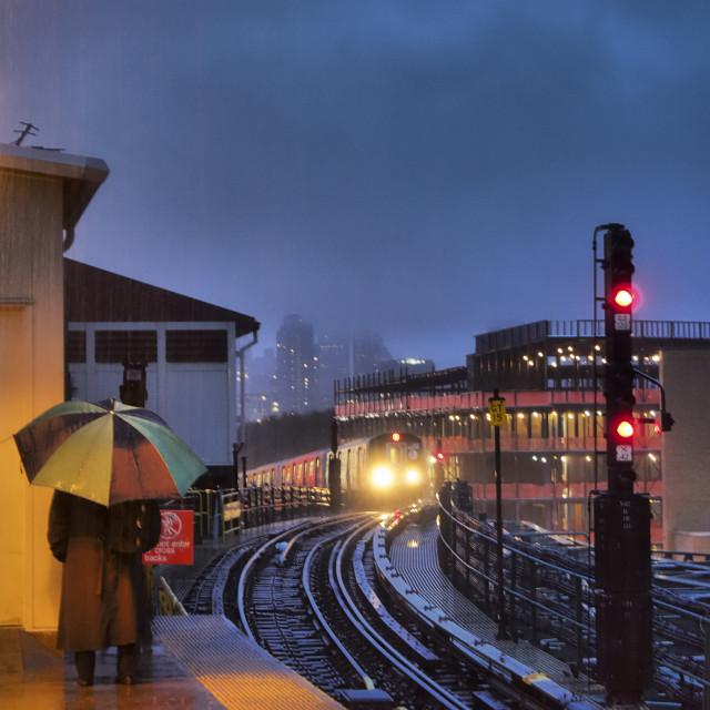 """N Train Rain"" stock image"