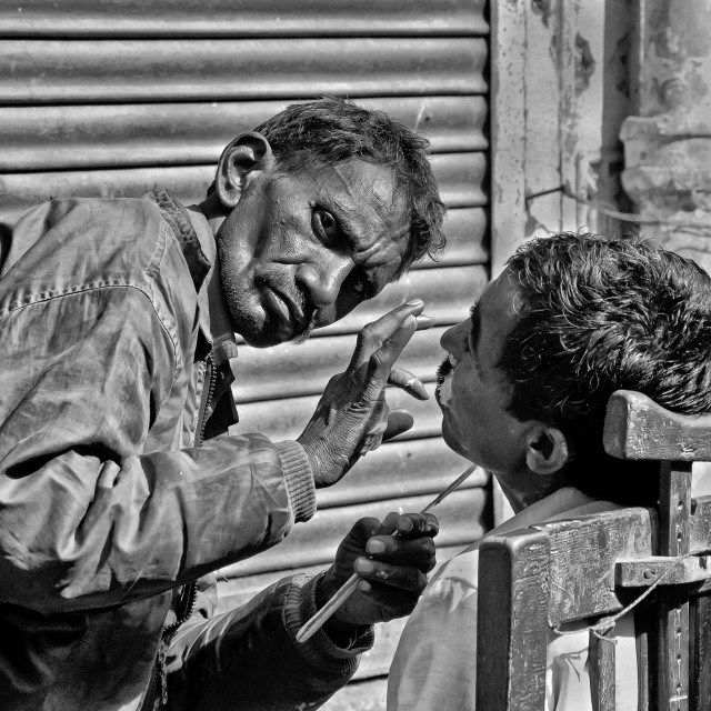 """STREET BARBER"" stock image"