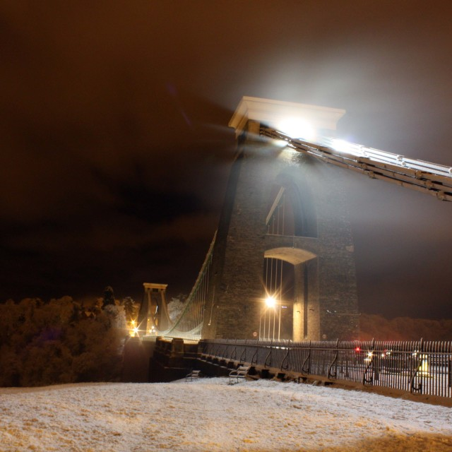 """Snowy Bristol Suspension Bridge"" stock image"