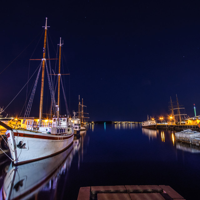 """Oslo harbour by night"" stock image"
