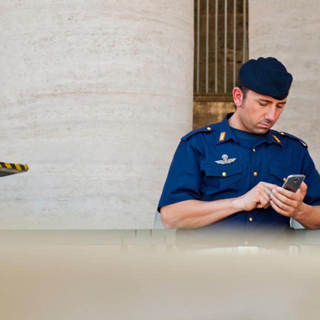 """Policeman at St. Peter's Basilica"" stock image"