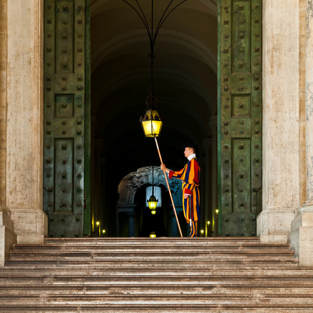 """Papal Swiss guard at the Vatican Museums"" stock image"