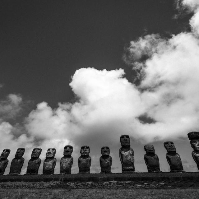 """Tongariki Moai"" stock image"