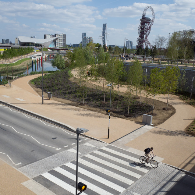 """Queen Elizabeth Park, Stratford, with cyclist"" stock image"