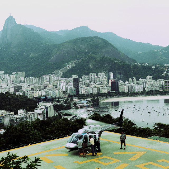 """Helicopter at Rio's Sugarloaf Mountain"" stock image"