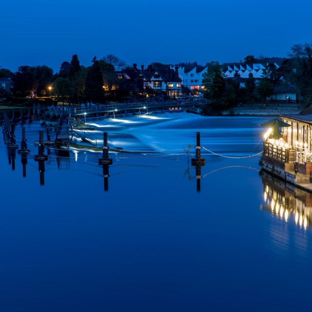 """Marlow Weir at Night"" stock image"