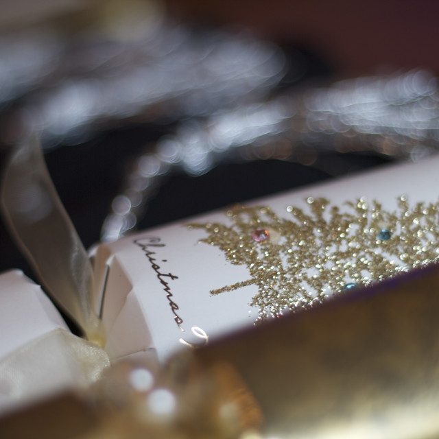 """""""Sparkly gold and silver christmas crackers"""" stock image"""
