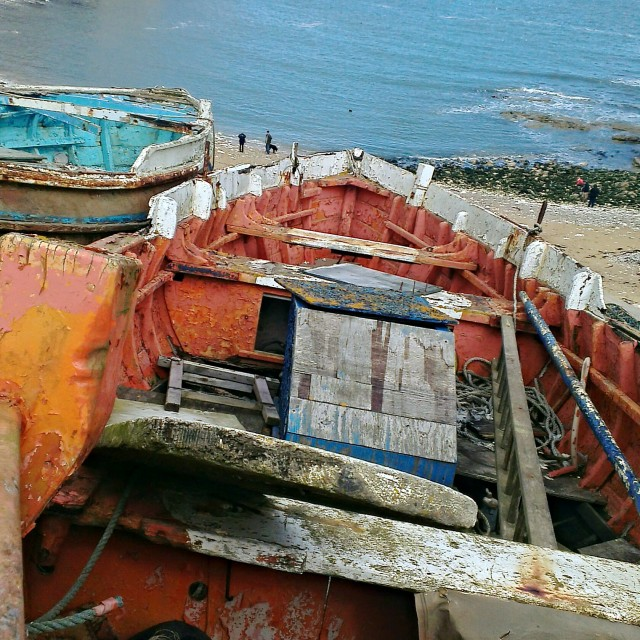 """Old Flamborough boats"" stock image"