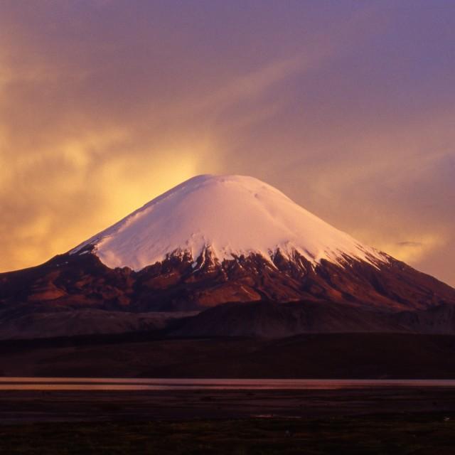 """Snow capped volcano , Alti Plano Bolivia"" stock image"