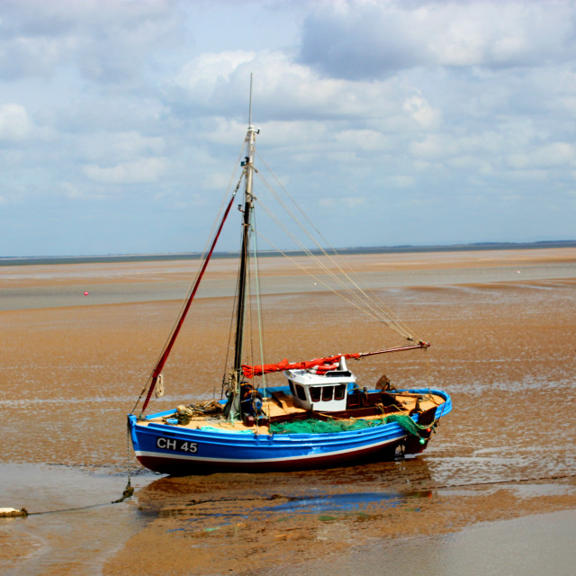"""Marooned Boat"" stock image"