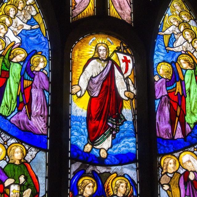 """Yorkshire Church Window"" stock image"