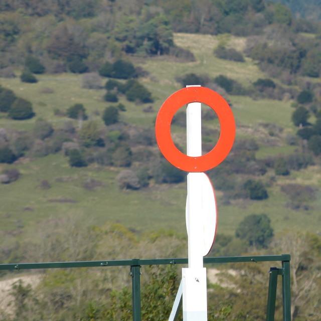 """Winning post , Goodwood Racecourse"" stock image"