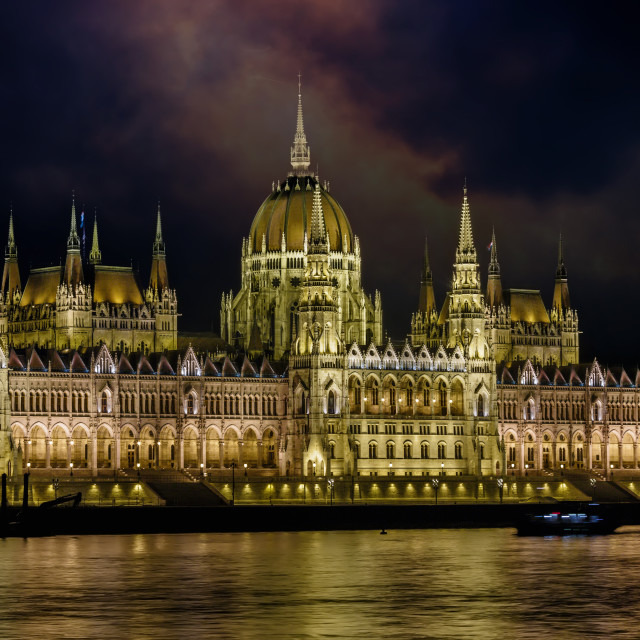 """Hungarian parliament in Budapest at night"" stock image"
