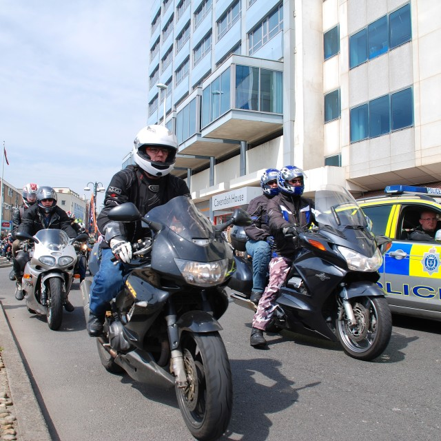 """""""May Day motorcycle rally, Hastings"""" stock image"""