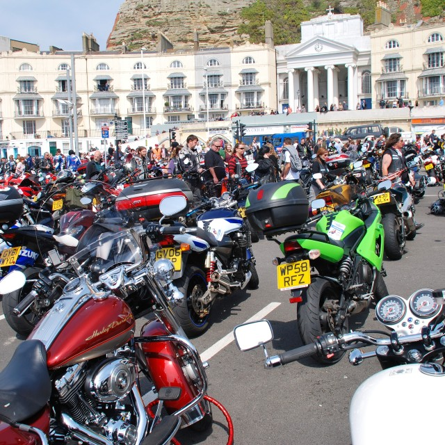 """""""Hastings May Day motorcycle rally"""" stock image"""