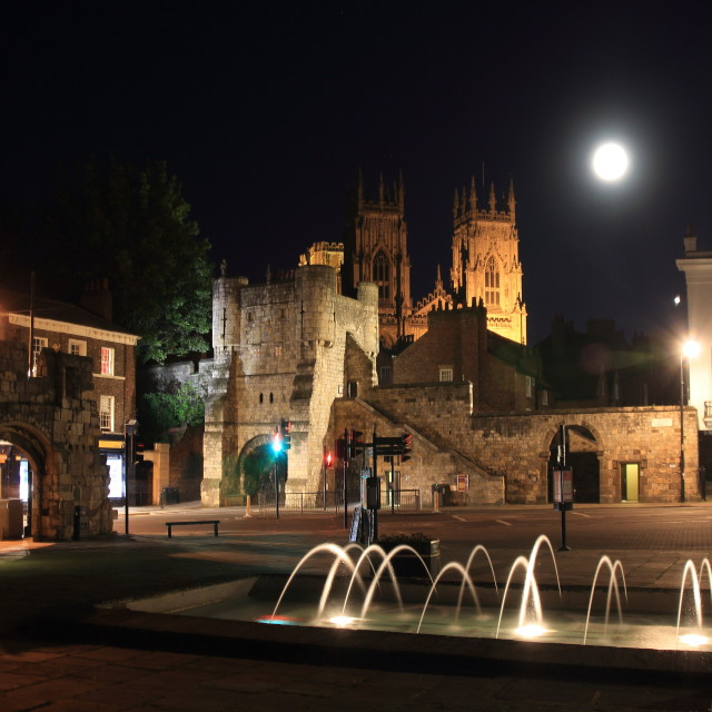 """Full Moon over York Minster & Bootham Bar at Night with Floodlit Fountain - New 2014"" stock image"