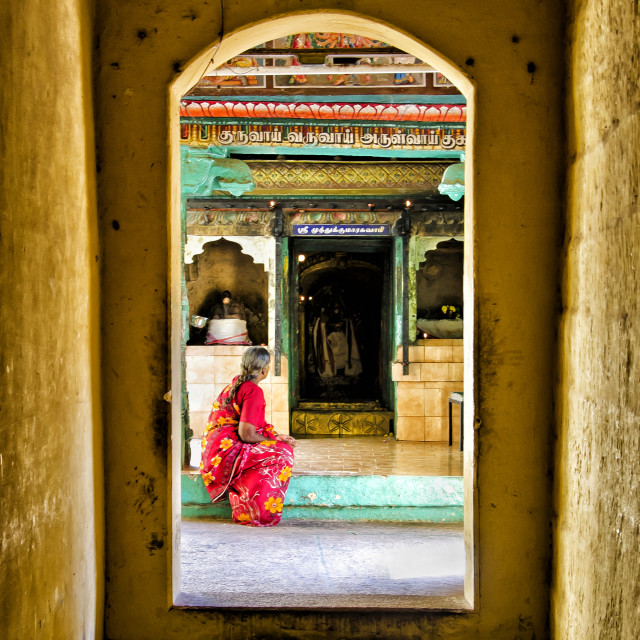 """""""WOMAN AT A SHRINE"""" stock image"""