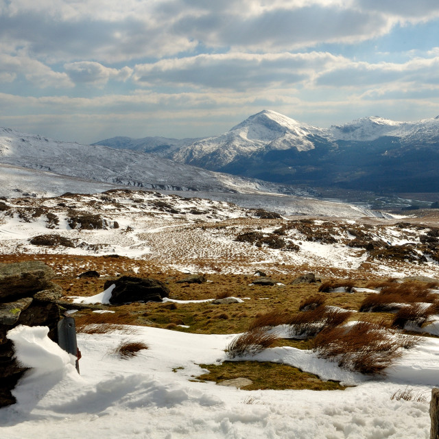 """A winter's day on Snowdon"" stock image"